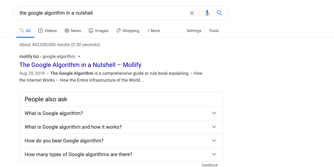 The Google Algorithm in a Nutshell